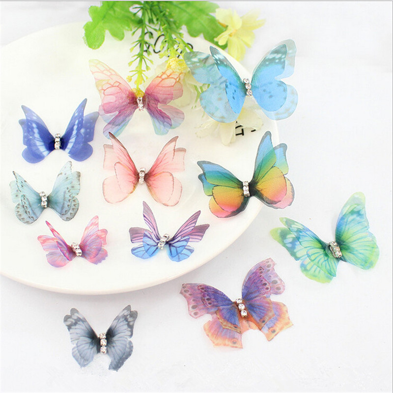 10pcs/lot Vivid Crystal Double Wings Yarn Butterfly Charms Pendants For DIY Earrings Hairclip Jewelry Making Finding Accessories
