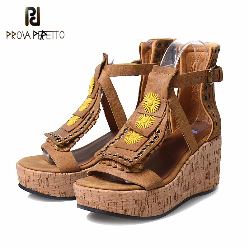 Prova Perfetto Rome Style Genuine Leather Rivets Sandals Women High Platform Thick Bottom Sandals Wedges Gladiator Summer Shoes lenkisen genuine leather big size wedges summer shoes gladiator super high heels straw platform sweet style women sandals l45