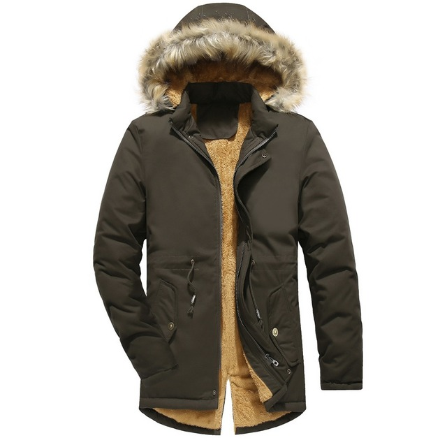 Cheap Winter Jacket Men Plus Velvet Padded Coats Men's Windbreaker Fur Collar Hooded Long Trench Overcoat Parkas Hombre Warm Jackets