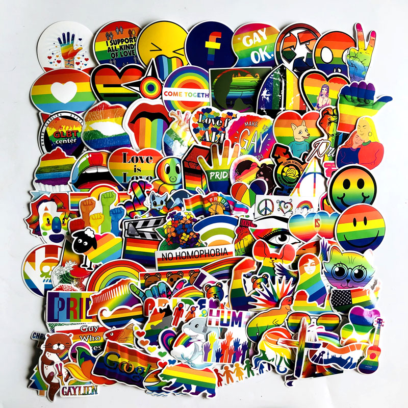 Image 4 - 100Pcs Gay Pride Rainbow Hand Reflective Car Sticker Decal PVC Irregular Funny Decal  Car Styling-in Car Stickers from Automobiles & Motorcycles