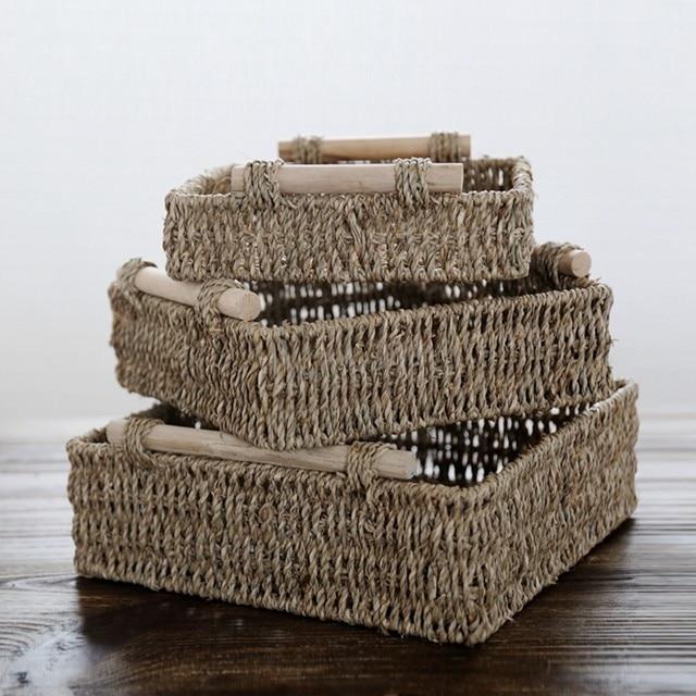 Japanese Aquatic Weeds Storage Baskets Wooden Handgrip Square Storage Box  Straw Basket Simple Organizer Handmade 3 Sizes