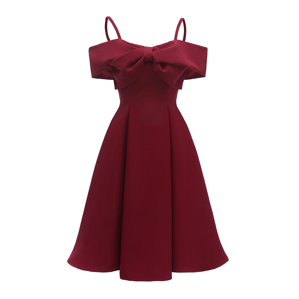 Dressv Burgundy Cocktail Dress Cheap Off The Shoulder Short Sleeves Graduation Party Dress Bowknot Fashion Cocktail Dress