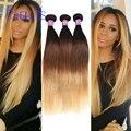Feixes ombre loira reta Brasileira 7A cabelo Brasileiro ofertas bundle cabelo virgem 1b 4 27 ombre extensões de cabelo humano