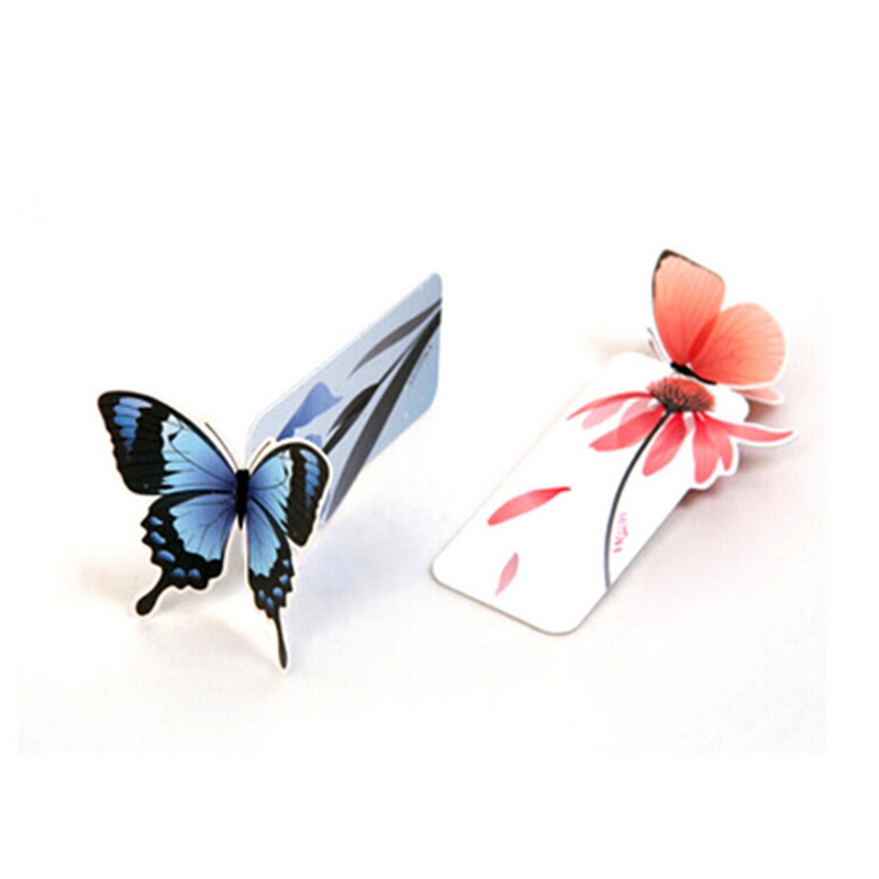 Flower Print Bookmark Stationery Books Marks Mini Paper 3D Stereo Butterfly Bookmarks For Kids Student School Supplies 5 PCS