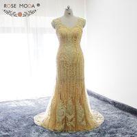 Rose Moda Bling V Neck Gold Mermaid Prom Dress Illusion Back Heavily Beaded Prom Dress Formal