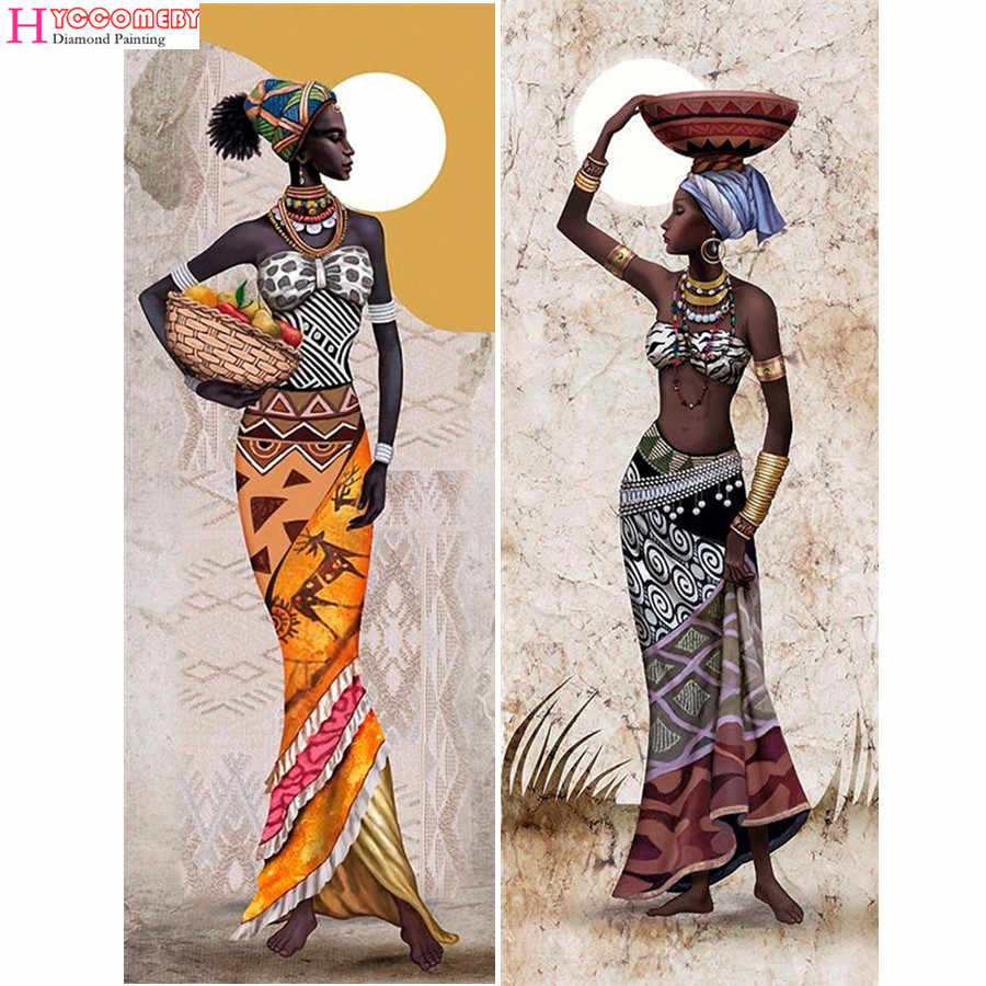 Needlework Diamond Painting African woman Diamond Embroidery full of round Drill Rhinestone Mosaic Picture Home Decoration