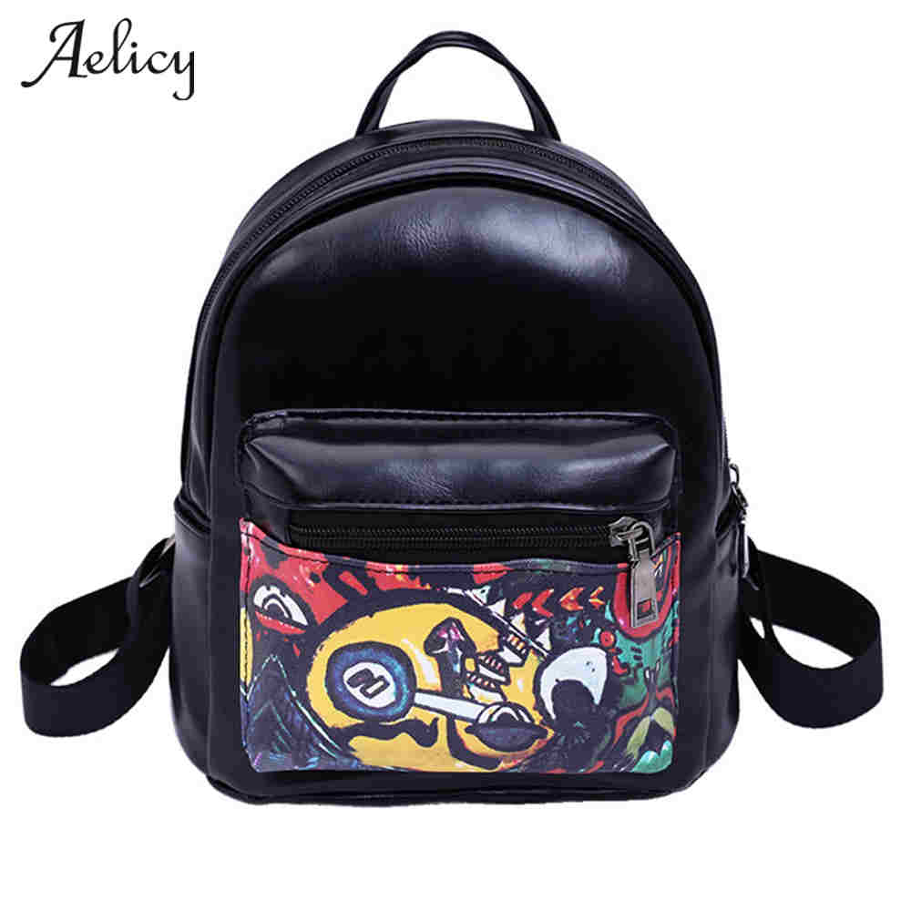 Aelicy New Cartoon Printing Backpacks Mini School Bags For Teenage Girls Backpack women leather backpack women travel bag