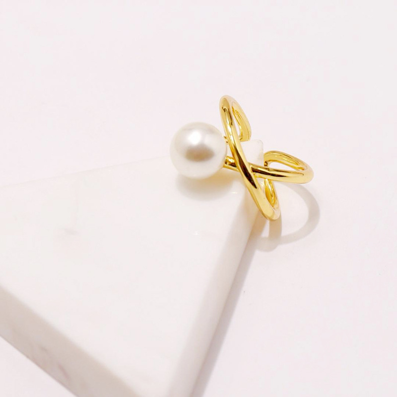 Adjustable Cross Design Pearl Ring for Women Hot Fashion Copper Metal Gold Color Brand Shell Pearl Women Birthday Ring Jewelry in Wedding Bands from Jewelry Accessories