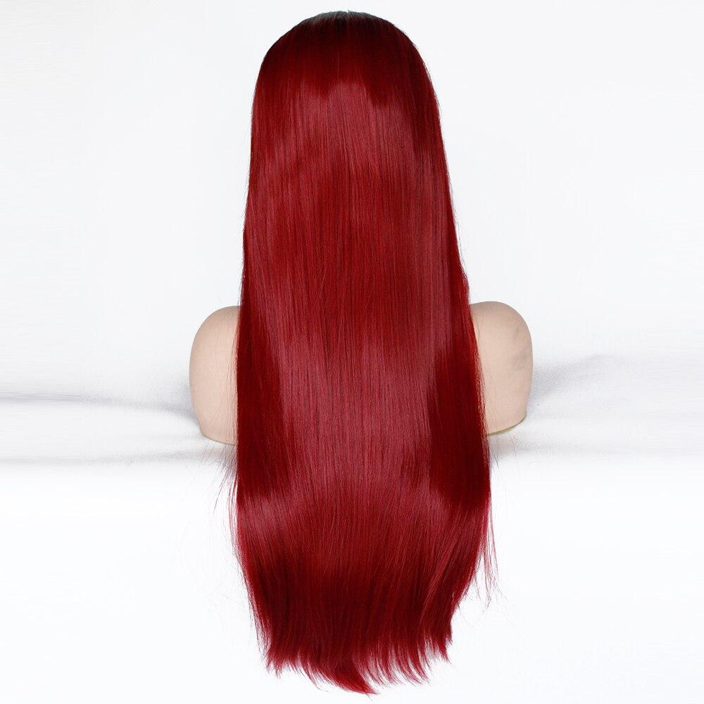 V'NICE naturel longue droite foncé racines Ombre vin rouge perruque partie centrale synthétique dentelle avant perruques pour les femmes noires - 4