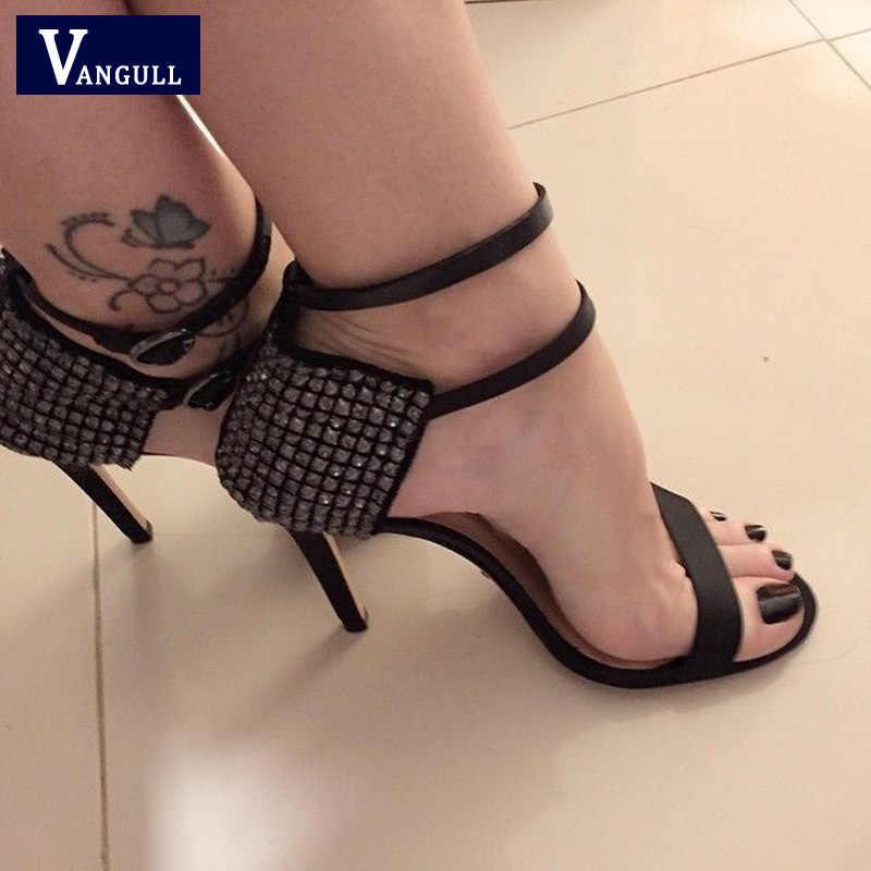 Vangull Wanita Tali Pergelangan Kaki Sandal Wanita Sepatu Musim Panas 2019 Baru Fashion Pesta Pompa Kristal Berlian Imitasi Elegan Stiletto Sepatu Hak Tinggi