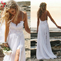 Bohemian Hippie Wedding Dresses 2017 Boho Spaghetti Sweetheart Lace Chiffon Side Slit Beach Bride Dress Backless Wedding Gown