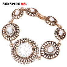 SUNSPICE MS Morocco Vintage Round Wrist Watch Charm Bracelet For Women Hollow Metal Chain Turkish Design Indian Wedding Jewelry sunspice ms