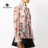 Pink Floral Printed Blouse Women Spring Summer Ruffles Blouses 2018 Womens Fashion Long Sleeve Tops Luxury