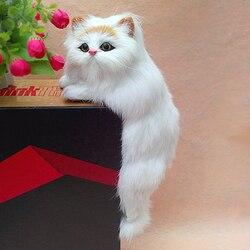 Simulation cat lebensechte handwerk gelb weiß cat puppe über 31x13x13 cm