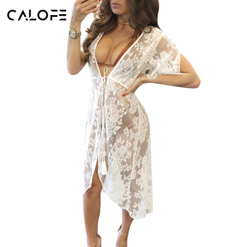 CALOFE Long Lace Sexy Beach Cover Up Dress Women Beach Dress Bikini Cover Up Swimwear Women Cover-up Bikini Swim Suit Cover up