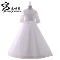 Hot Sale Real Pics Lace Appliques Flower Girl Dress For Wedding Floor Length With Sleeves Kids