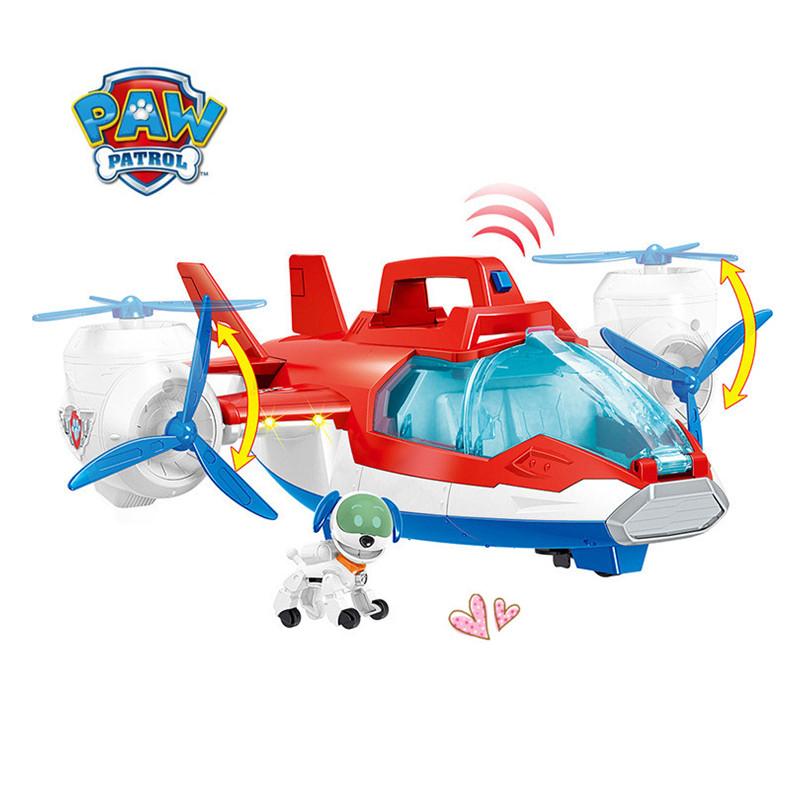 New paw patrol air plane sound child rescue car toy car machine dog Ryder captain robot dog plane Patrulla Canina model toy