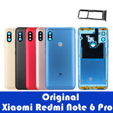 Original Xiaomi Redmi Note 6 Pro Back Cover Housing Redmi Note 6 Pro Rear Battery Door Camera Glass Side Key Replacement Parts