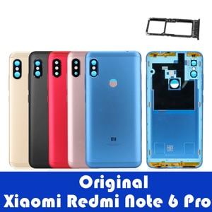 Image 1 - オリジナル xiaomi redmi 注 6 プロバックカバーハウジング redmi 注 6 プロ後方バッテリードアカメラガラスサイドキー交換部品