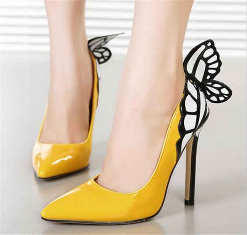 ZOUDKY 2018 новая мечта крылья бабочки закрытым острым носком голова темперамент цвет высокая обувь на каблуке