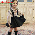 Cute Baby Girls Sets Pullover Flounce Collar Long Puff Sleeve T-shirt+Strap Short Skirt 2 Colors Suit For 2-6 Ages Kids Girls
