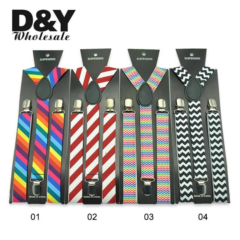 FREE SHIPPING Hot Colorful Striped Printing 6colors Suspenders 2.5cm Men Women Unisex Y-back Classic Suspender Braces Wholesale