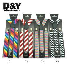 Newly Colorful Striped Printing 5 colors suspenders 2.5 cm Men Women Unisex Y-back Classic Suspender Braces Wholesale&Retail