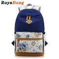 RoyaDong 2017 School Bag For Teenage Girls Canvas Flowers Printing Preppy Backpack Women