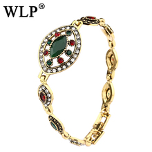 WLP Hot 2017 Bohemian Bracelets Unique Retro Bracelets For Women Ancient Gold Color Rhinestone Resin Indian Jewelry W0007