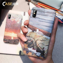 CASEIER Case For Xiaomi 8 9 Note 5 7 Oil Painting Embossed Phone Cases For Xiaomi A2 6A Redmi 6 Soft TPU Cover Funda Accesorios(China)