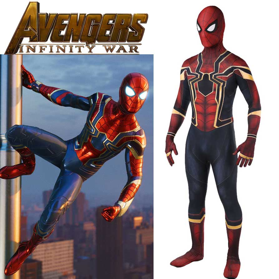 Avenger Infinity War Iron Spiderman Costume 2018 New Movie 3D Print Spider-Man Cosplay Costume Full Body Zentai Adult/Kids Size