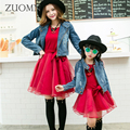Mother Daughter Dresses Fashion Denim Coats Family Look Matching Outfits Clothes Cotton Mom And Daughter Dress Clothing GH202