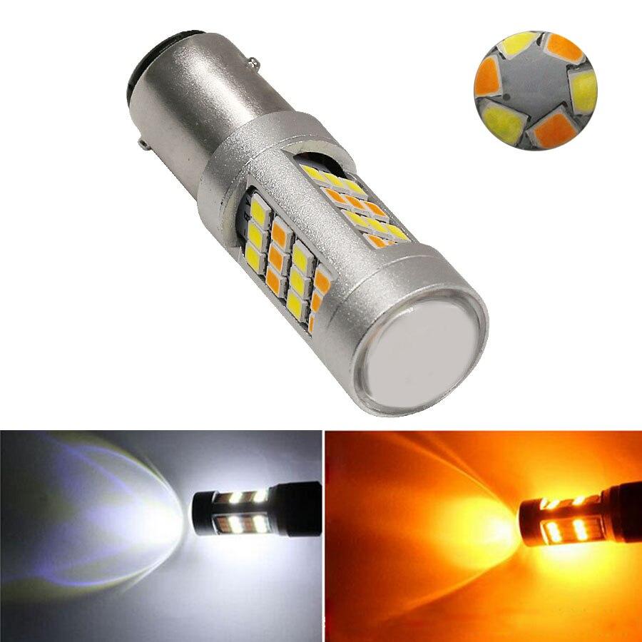 1pcs 1157 3157 7443 Dual Color LED Bulbs 2835 42 SMD White Amber BAY15D T25 T20 LED Car Parking Lamp Turn Signal Lights 12v