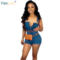 HAOYUAN Plus Size Denim Two Piece Set Women Sexy Club Outfits Crop Tops and Jeans Shorts Summer Matching Sets Festival Clothing