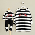 2016 Summer t-shirt stripe Good quality mother & daughter father baby clothes family set hoodies family clothing sets family