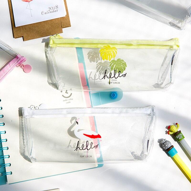 Cartoon transparent flamingo gel waterproof pencil bag storage bag korean stationery school pencil cases material escolar
