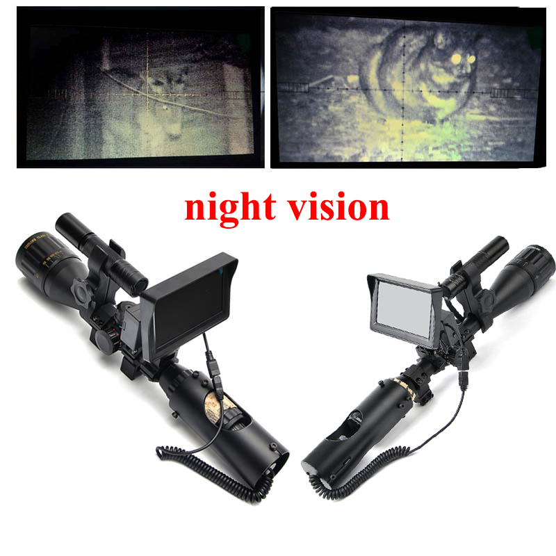 Hunting Night Vision Riflescope Outdoor Hunting Scopes Optics Sight Tactical Digital Infrared With Monitor and Flashlight kandar 6 18x56q front tactical riflescope big objective with glass plate riflescope military equipment for hunting scopes