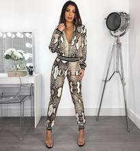 2019 New Arrival Pants 2pcs Track Suits Woman Casual Sexy Snake Beauty Set Tops +  2