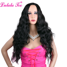цена на 26inch Long Black Wavy Wigs Synthetic Curly Wigs For Women Middle Part African American Heat Resistant Natural Hair Wig