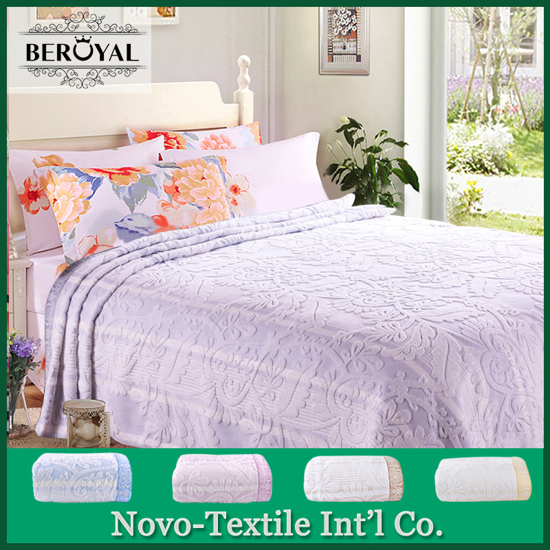 ФОТО 2017 Beroyal Brand New Blanket 100% Cotton Towel Blanket Floral  Blankets For Beds Warm and Soft  Throw Blanket 150cmx200cm