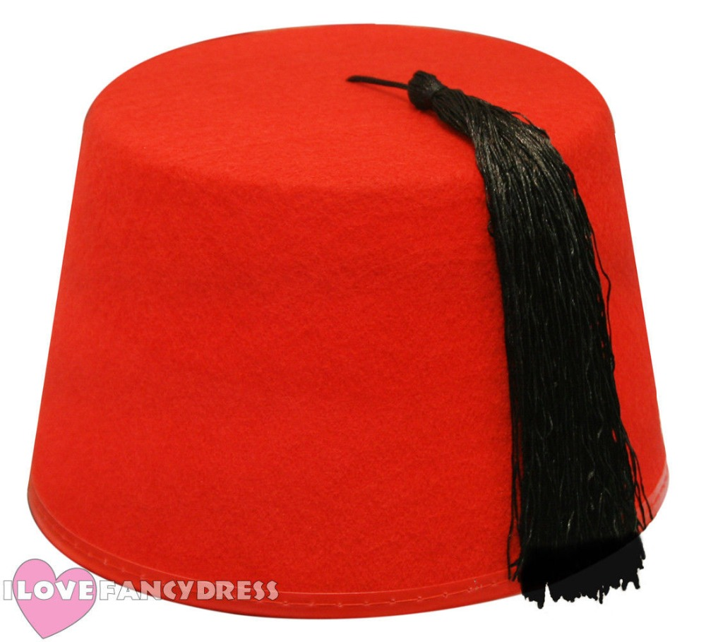 New 6X Red Fez Hat Tommy Cooper Moroccan Turkish Adults Fancy Dress Up Costume