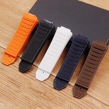 Acessórios de relógio pulseira de silicone de borracha aplica se para hublot hublot grande bang pulseiras de relógio masculino 19mm x 29mm fivela dobrável