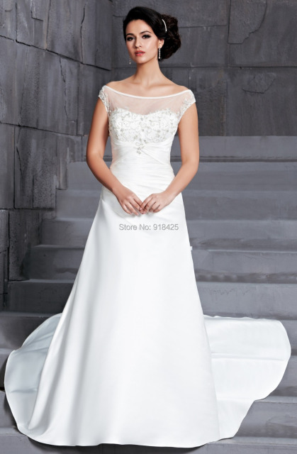 Modern Western A Line Satin Wedding Dresses Cap Sleeves Bridal Gown Embroidered Illusion Neckline Simple Mg270