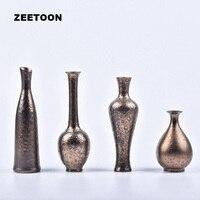 Jingdezhen Ceramics Glaze Small Copper Bronze Imitation Flower Flower Vase Japanese Tea Ceremony on Behalf of A Retro Decoration