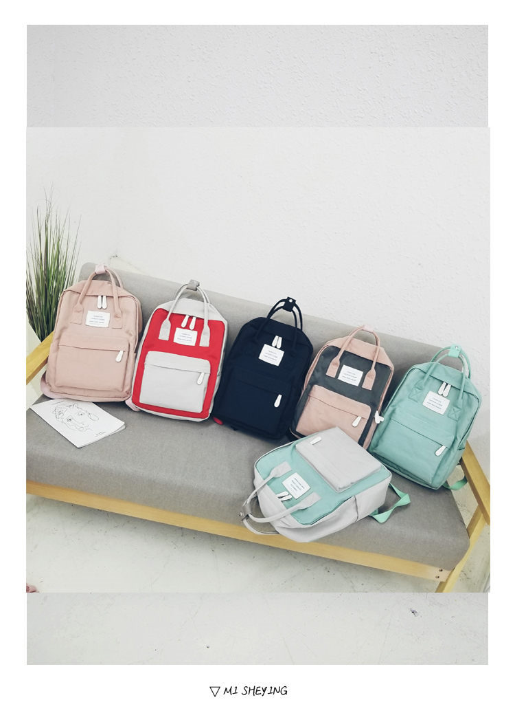 HTB1yXXignqWBKNjSZFAq6ynSpXae - Women Hot Canvas Backpacks Candy Color Waterproof  School Bags for Teenagers Girls Laptop Backpacks Patchwork Backpack New