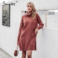 Simplee High Split Knitting Pullover Winter Long Sleeve 2017 Sweater Women Pull Femme Turtleneck Streetwear Soft