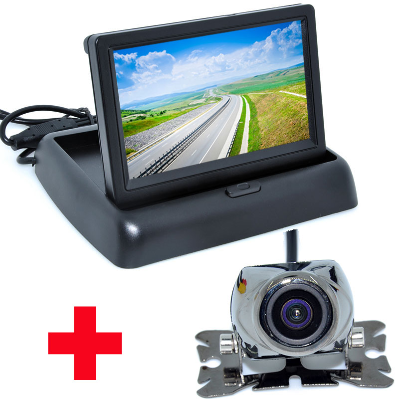 4.3 Color LCD Video Foldable Car Monitor Auto Parking Assistance+ Universal Night Vision backup Camera Car CCD Rear View Camera