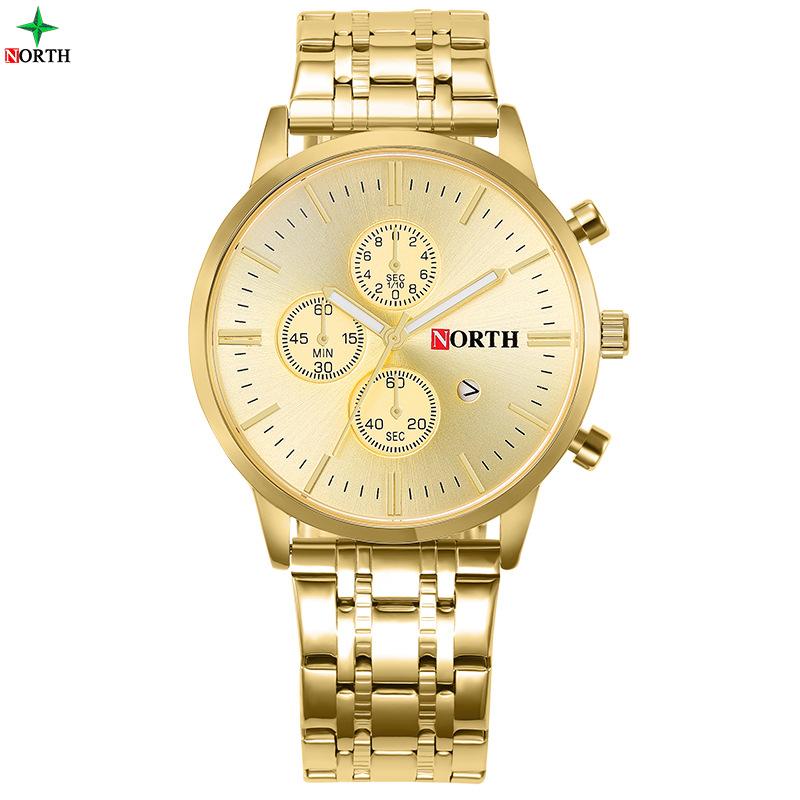 Prix pour 2017 north or montre hommes 3atm étanche veilleuse pointeur d'affaires montres pour homme d'or de luxe casual robe mâle horloge
