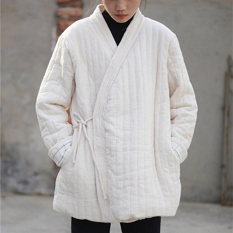Johnature Women Plus Cotton   Parkas   Coats 2018 Winter New Vintage Loose Simple Solid Color Belt Warm Cotton Vintage Coats