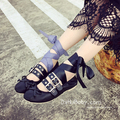 2017 Spring Ballet Flats Women Summer Flat Heel Metal Buckle Belt Harness Bandage Punk Leather Shoes Flats